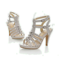 New Black Open Toe Buckle Rivets strap Sexy Platform Women's PU Leather Stiletto Sanddals Pumps Shoes