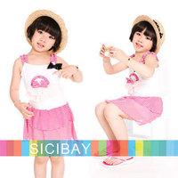 new Summer Beach Striped bow Design Cute Little girls dress kids casual baby fashion children clothes girl dresses K0377