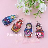 Multicolour Russian Style Dolls Alloy Small Pendant