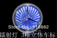 MERCEDES BENZ 3D LED LIGHT BADGE DECAL LOGO CAR TRUNK EMBLEM LAMP Blue 87x87mm