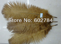 "Free Shipping 100pcs/lot gold / brown ostrich drab feather ostrich plumes 30-35CM 12-14"" for wedding decoration"
