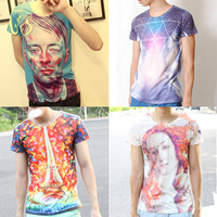 2013 New Fashion Galaxy Design Men Women T shirts Slim Summer Printed Short-sleeve T-shirt,Fashion Tops Tee,Free Shipping