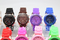 2013 Rose gold GENEVA silicone quartz jelly watches men women 14colors free shipping 100pcs/lot
