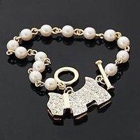Free shipping (50 pieces/lot)Simple Fashion Silver/Gold Pearl Crystal Rhinestone Dog Animal Bracelet Bangle