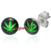 *Wholesale Earrings Stainless Steel Cannabis Weed Stud Type stainless steel earings