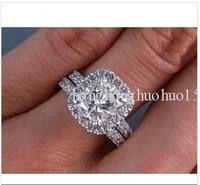 100% 14K3.18 CT TW CUSHION CUT  WEDDING RING