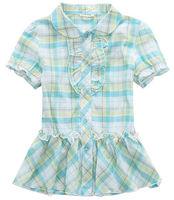 ok plaid casual summer dress fashion kids girls teen children t shirts blouse outerwear cardigan short sleeve cotton PDXS03P14