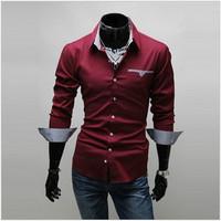 2013 Fashion Casual Men Long-sleeve Shirt Shirts For Men,3 colors M/L/XL/XXL/XXXL,Free Shipping 5907