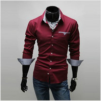 2013 Fashion Casual Men Long-sleeve Shirt Shirts For Men,3 colors M/L/XL/XXL/XXXL,Free Shipping 5907