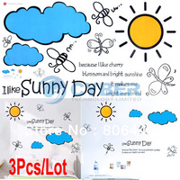 3Pcs/Lot Design Home Wall Sticker Decal Removable Sun Cloud Pattern Decoration Wall Paster/Poster Free Shipping 6815