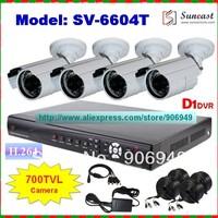New Arrival Sony Effio CCD 700TVL CCTV System 4CH Indoor/Outdoor Waterproof IR Bullet Camera Kit with Full D1 DVR Surveillance