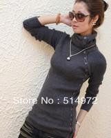 Best selling!! women's medium-long turtleneck sweater ladies pullovers free shipping