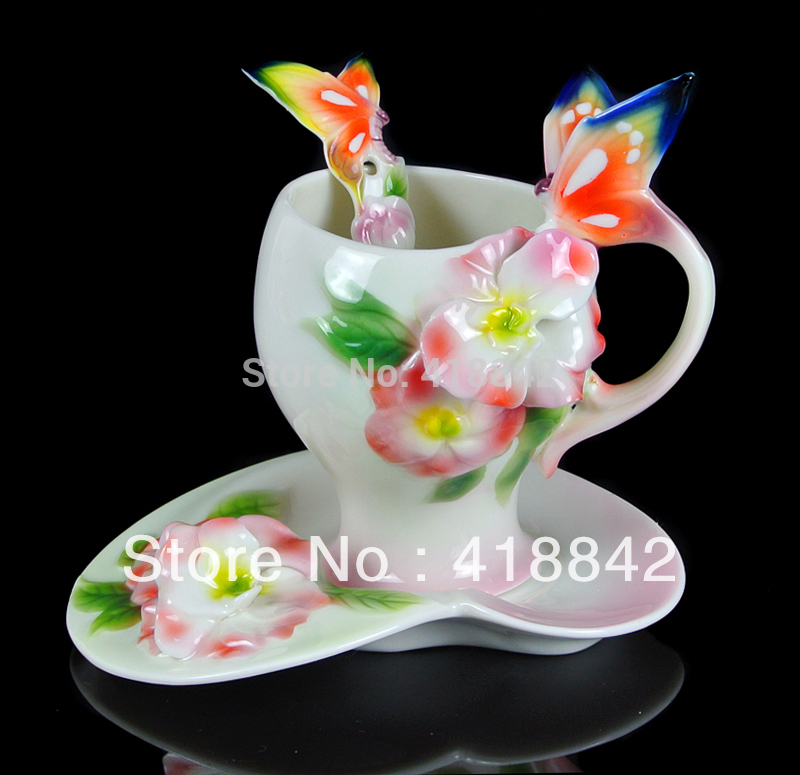 Pink Butterfly Azalea Porcelain Coffee Set 1Cup 1Saucer 1Spoon Christmas Gift