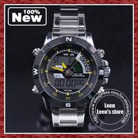 DHL EMS Free shipping  latest WEIDE men  quartz watch digital analog waterproof wrist watch, yellow color and alarm watch