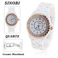 Stylish Sinobi Rhinestone Decoration Wrist Watch with Dots Hour Marks Dial White Ceramic Band for Male