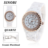 Stylish Sinobi Rhinestone Decoration Wrist Watch with Dots Hour Marks Dial White Ceramic Band for Male