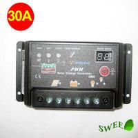 30A PWM 12V 24V Solar Charge Controller Regulator LED Display regulateur solaire