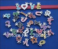 Metal European alphabet charm fit leather belt bracelet crown letter crystal alloy beads 200pcs