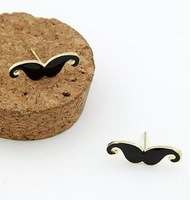 in.order is $5 (mix order) Free Shipping Fashion Jewelry Mini Vintage Moustache Mustache Stud Beard Earrings/ring