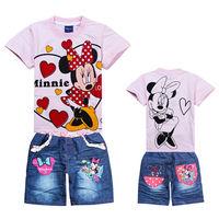 2013 NEW Summer girls tshirt jeans suits children Cartoon clothing sets MINNIE Mouse t-shirt+jeans 2pcs clothes set suits