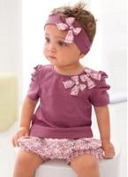 Wholesale 1 lot=5pcs Baby Suits Purple Girl Clothing Set bowknot headband+Short T shirt +floral printed shortsFree shipping