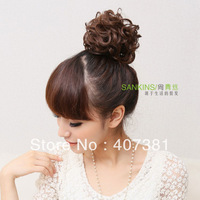 Black hair wig/ bag buckle big balls meatball /head japanese style big curly hair bag