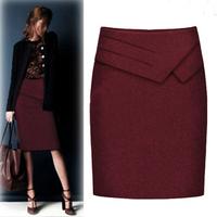 New Arrival Retail High Waist Black Work Skirt Ladies Ruffles Knee-Length Straight Bust Skirts Women's Fashion 2014 Saias