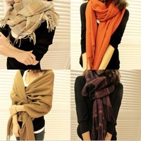 2013 hot ! New Arrive autumn and winter women's all-match yarn muffler scarf cape dual-use ultra long plaid scarf free shipping