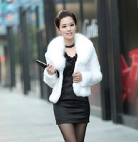 Real rabbit fur coat with fox fur collar women's short design fur coat  Free shipping EMS TF094 customize