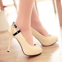 2013 casual sweet metal thin high-heeled heels single shoes plus size female single shoes female casual ol
