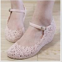 Summer jelly shoes flower cutout wedges shoes elevator sandals reticularis bird nest beach women's shoes
