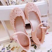 Jelly shoes flower cutout sandals flat sandals reticularis bird nest beach women's shoes flat heel sandals female