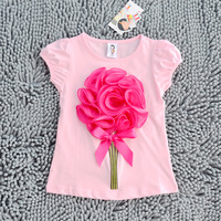 Freeshipping big flower girls tops,kids baby summer t-shirts,children t shirts,pink with hot pink princess clothes