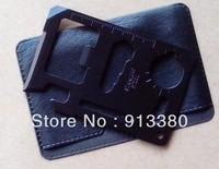 Black 11 Function Credit Card Size Opener  Multi-function Tool Survival Camping Tool Kit 5pcs