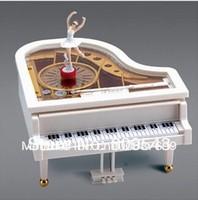 Free Shipping Mechanical Piano Music Box Dancing Ballerina White