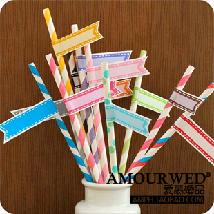 50 pcs Eco-friendly wedding banquet 24 multicolour paper straw with multicolour small label striped paper party straws PH0018