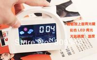 Free Shipping 813 LED Digital Weather Forecast Station Alarm Clock (White)