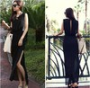 Free Shipping 2013 Women's New Summer Chiffon Long False Two-piece Side Split Dresses Irregular Skirt Formal Gowns Casual Dres