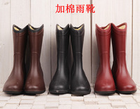 Women's thermal plus velvet rainboots rain boots fashion water shoes knee-high rubber wedges shoes overstrung