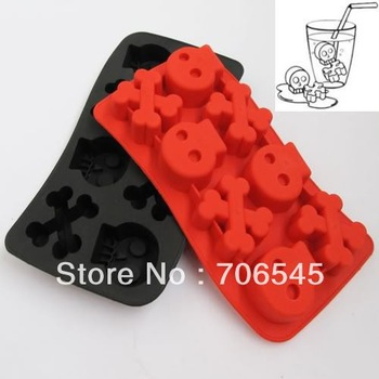 Skull Ice Freeze Cube Jelly Mold Chocolate Cookies Cupcake Mould Tray Maker DIY