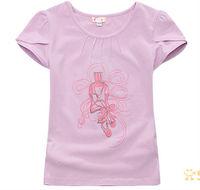 ok Freeshipping summer pink purple Children child Girl Kids baby lady Cute princess short sleeve shirt  blouse T-shirt PCXZ01P38
