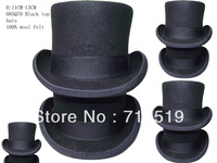 wholesale Black  standard top hats with cheap price felt 100% wool with 13CM height and white lining  for party with ribbons
