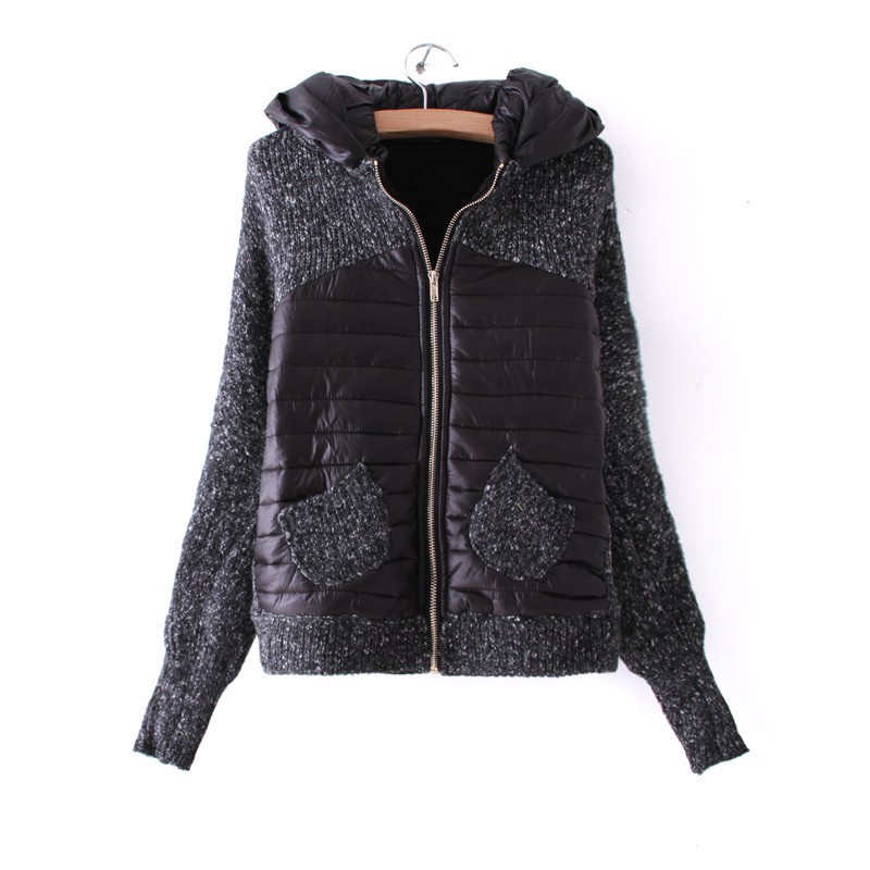 2012 winter new European and American Fan sweater stitching quilted thick velvet plus bat short sweater women's coat(China (Mainland))