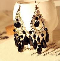Nice Fashion Jewelry Boho Earrings Peacock Feather Shape Biag Stone Long Earrings AE187