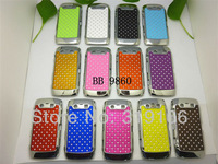 New arrival luxury Bling Crystal Diamond Rhinestone Chrome Hard Case cover For blackberry 9860 , Free shipping 10pcs
