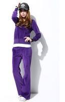 Free Shipping wholesale Women's Brand Velvet Tracksuits,Women Velours Suits,Sport Tracksuits,Hoodies & Pants SIZE M-L