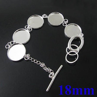 18mm Silver Plated Copper Round Circle Tray Blank Bases Buckle Bracelet Vintage Cameo Settings Findings Wholesale