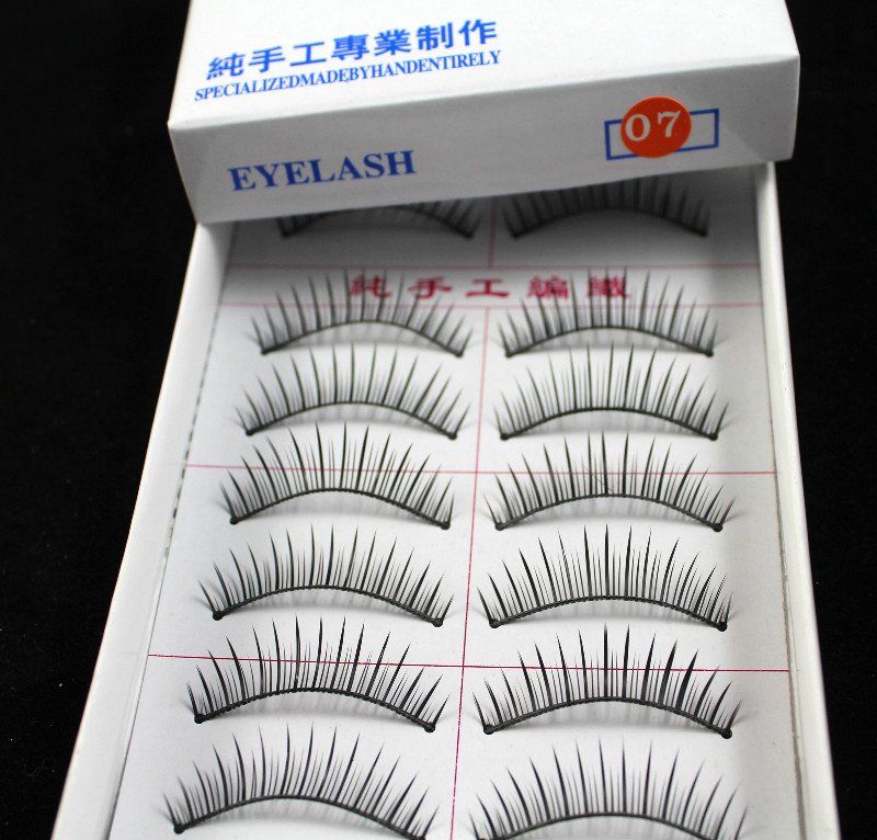Free Shipping Wholesale 5 Sets/Lot wiht retail package 10 Pair Natural Long False Eyelashes Cosmetic Lashes Fake Eye Lashes 07#(China (Mainland))