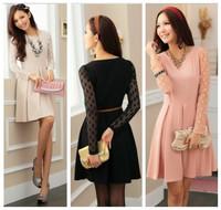 new fashion spring autumn cotton gauze apricot black pink long sleeve plus size women casual vestidos dress party dresses 2014