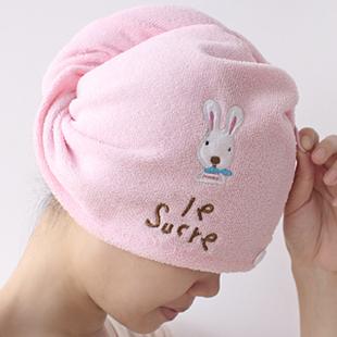 (Min order is $10) E9036 home cartoon rabbit super absorbent dry hair hat magic dry hair towel(China (Mainland))